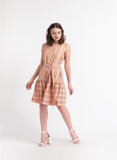 Rue Çizgili, Fermuar Detaylı Elbise Somon